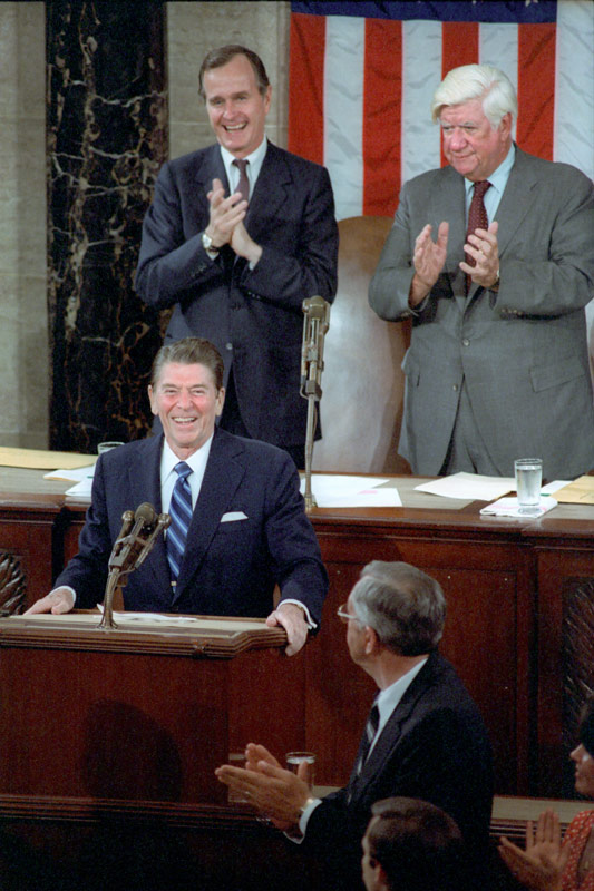 Ronald Reagan with George HW Bush and Speaker Tip O'Neill